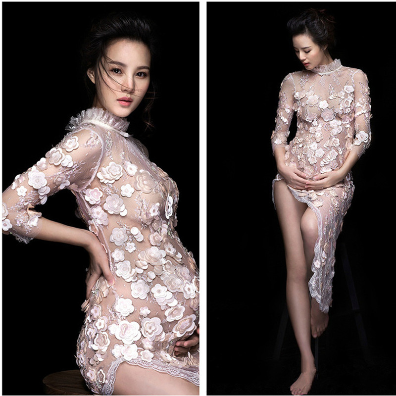 Maternity Dresses For Photo Shoot Floral Appliques Pregnancy Dress Photography Sexy See-through Dress For Party Wedding Clothes