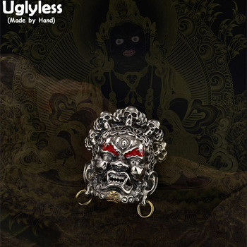 Uglyless Real 925 Sterling Thai Silver Handmade Buddhism Fortune God Pendant without Chain Horrible Demon Jewelry Enamel Bijoux