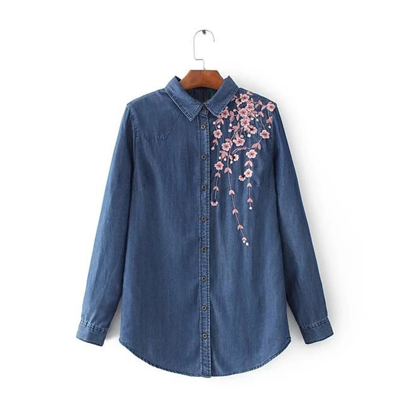 2017 Women Embroidery Jeans Shirts Long Sleeve Turn-down Collar Denim Blouse Vetement Femme Blouses