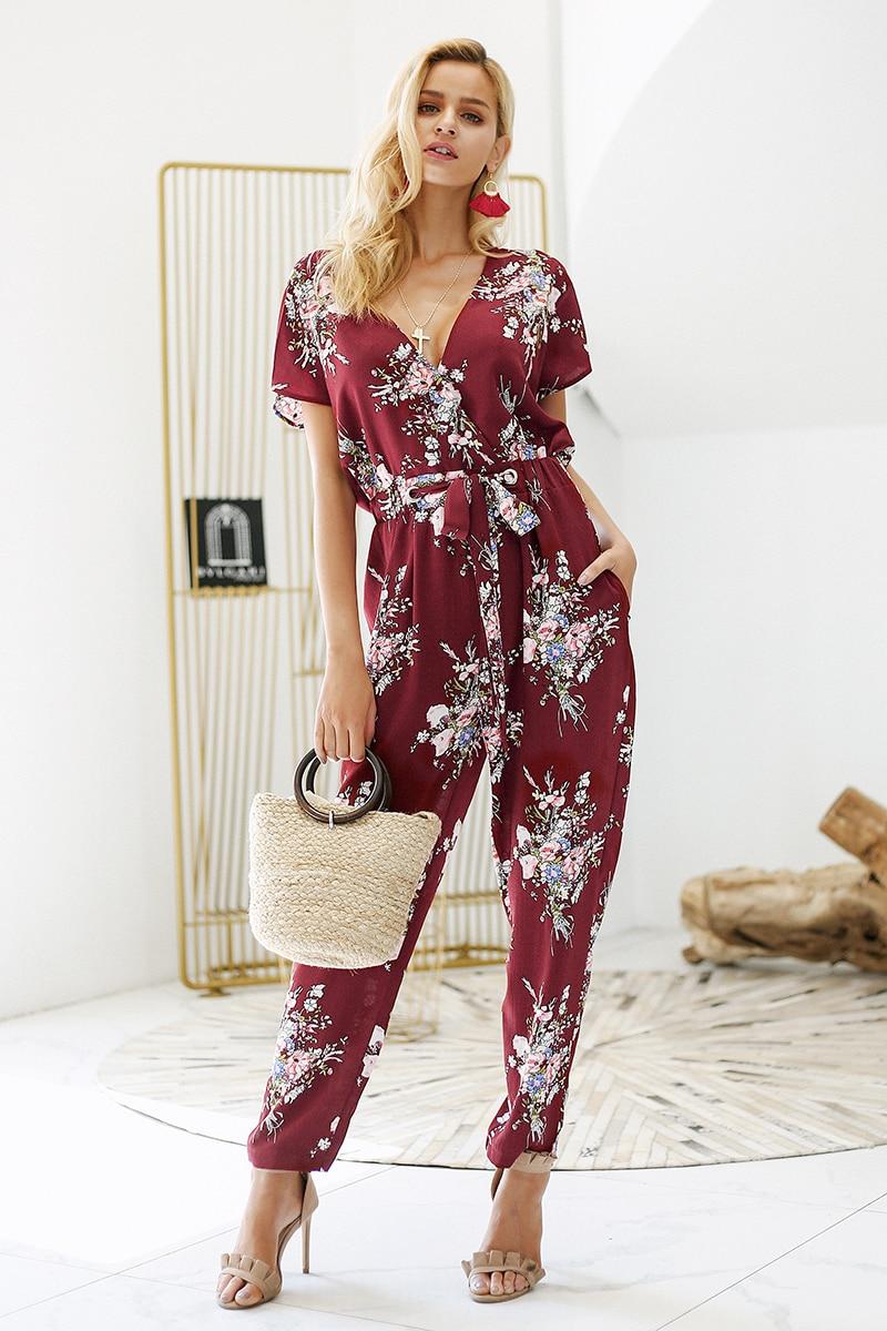Simplee Vintage floral print boho jumpsuit romper V neck short sleeve casual jumpsuit Loose sash summer jumpsuit women overalls 5