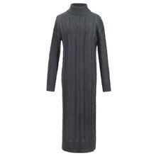 Новые Теплые осень-зима тонкий вязаный свитер Длинные платья Мода драпированные прямое платье лодыжки толстый Повседневное водолазка платье mw026