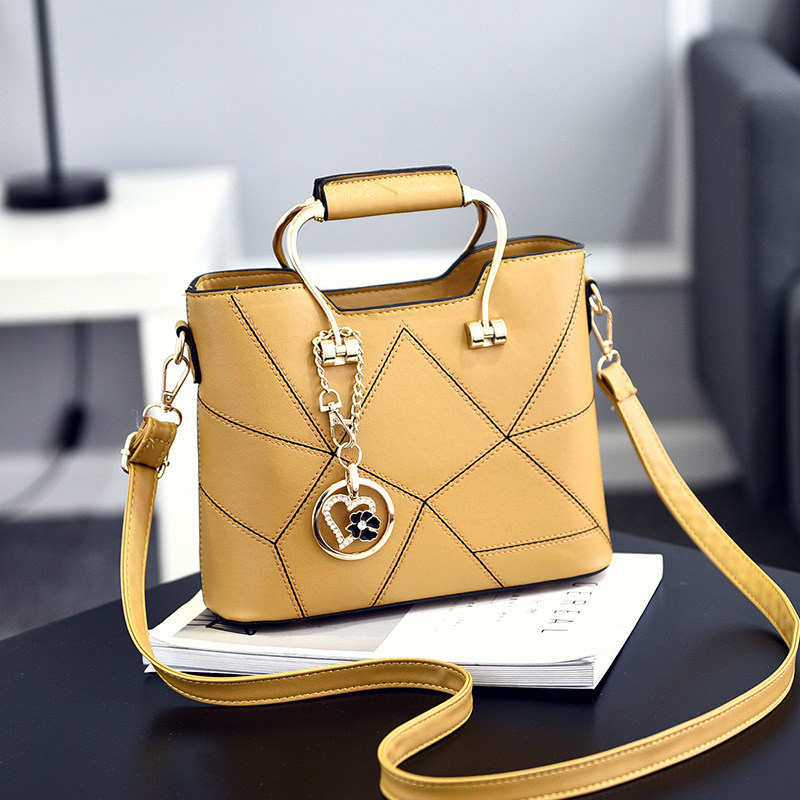Casual PU Women Handbag Yellow Fashion Office Lady Shoulder Bag Crossbody Metal Handle Heart Flower PendantCasual PU Women Handbag Yellow Fashion Office Lady Shoulder Bag Crossbody Metal Handle Heart Flower Pendant