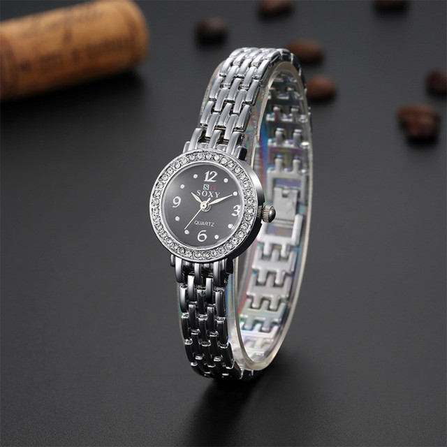 2017 New Luxury Silver Bracelet Watch SOXY Brand Watch Women Fashion Rhinestone