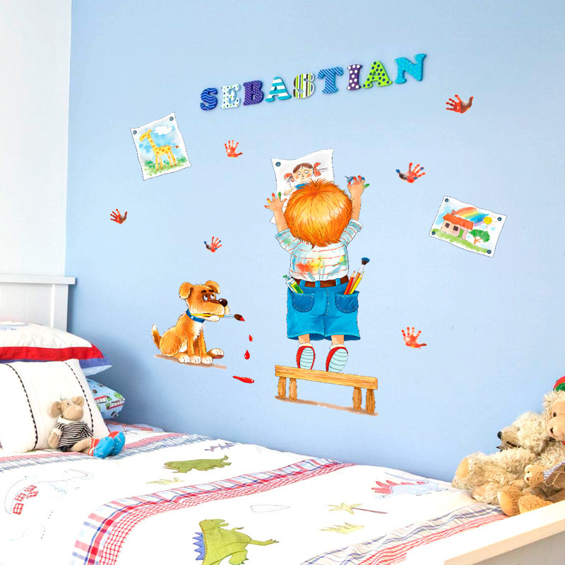 Cartoon doodle children bedroom bedside living room for Bedside decoration
