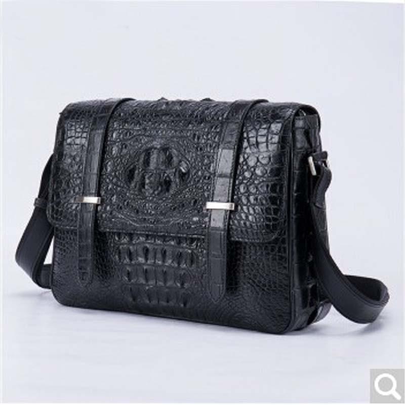 Gusheng new Crocodile leather man shoulder bag leather crocodile pattern messenger bag man business Briefcase fashion postman Ba