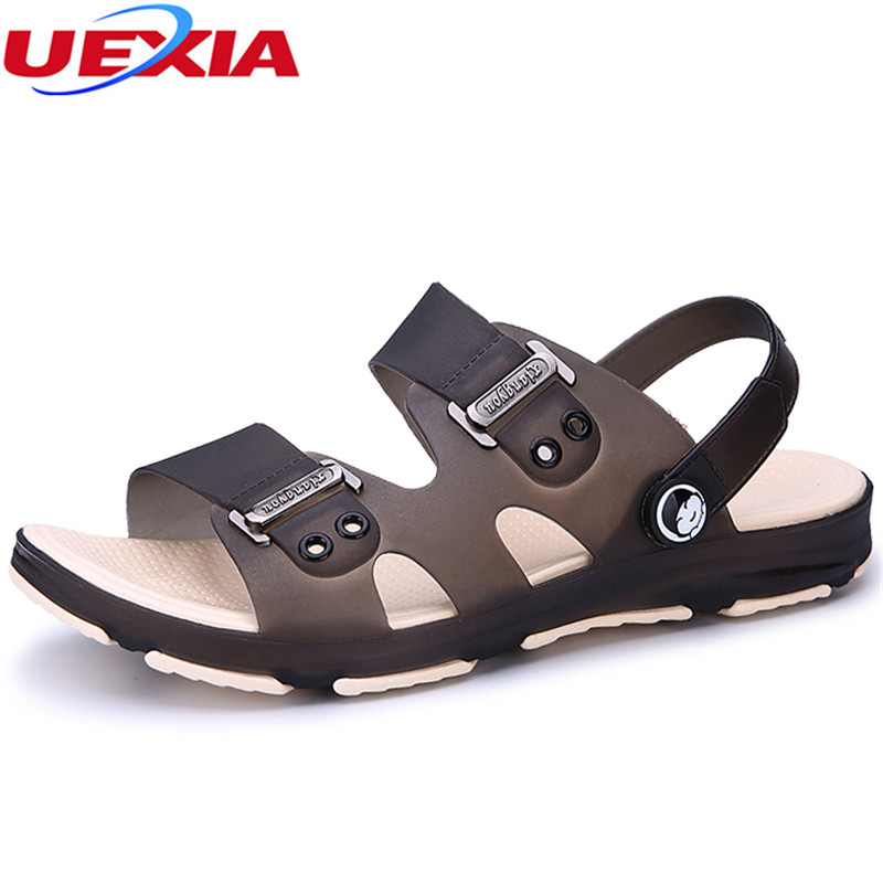 UEXIA Men's Summer Shoes Sandals New Breathable Men Lighted Casual Outdoor Slip On Beach Men Sandals High Quality Fashion Slides branded men s penny loafes casual men s full grain leather emboss crocodile boat shoes slip on breathable moccasin driving shoes