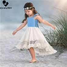Chivry 2019 Gilrs Cute Lace Hollow Out Irregular Hem Backless Princess Dress Kids Girls Wedding Party Birthday Dresses Clothes