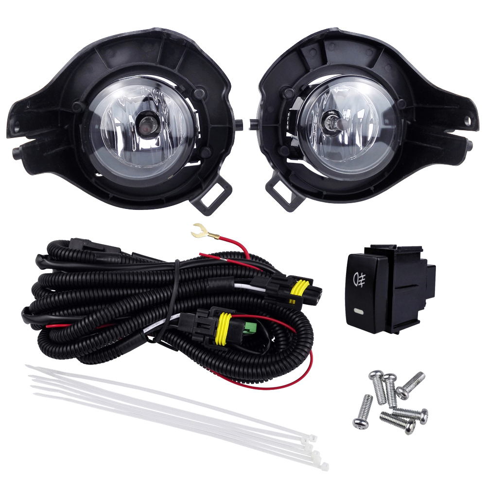 Fog Lights for Nissan Pathfinder 2010 Pathfinder Eterra 2005-2009 Frontier Navara 2005 Fog Lamp Assembly Halogen Lamps Styling car styling halogen fog lights fog lamps for nissan qashqai 2 2007 2012 12v 1set