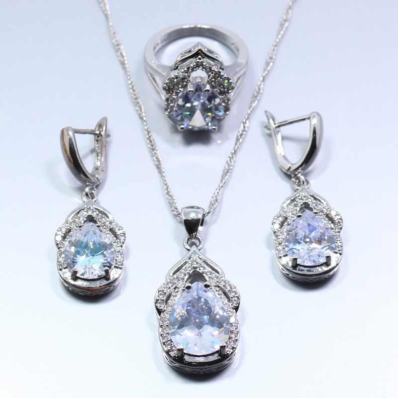 Dazzing Синий Циркон 925 Серебряный женский модный свадебный ювелирный набор серьги с цепочками ожерелье Кулон Кольцо Бесплатная подарочная коробка