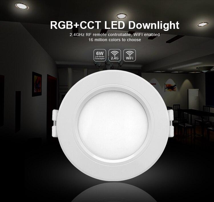 Milight FUT068 AC100-240V 6 W LEVOU Downlight dimmable recesso luzes do painel de Led RGB + CCT compatível FUT092 remoto WIFI APP controle