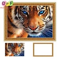 DPF 5d Okrągły Diament malarstwo Cross Stitch niebieskie oko tygrysa pełne diamentów Mozaiki mają Ramki Diament Haft home decor rzemiosła