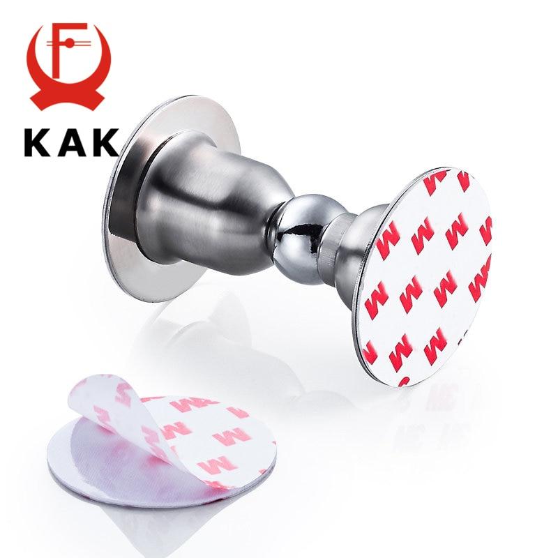 Купить с кэшбэком KAK Stainless Steel Magnetic Door Stopper Sticker Toilet Glass Hidden Door Holders Catch Floor Nail-free Doorstop Door Hardware