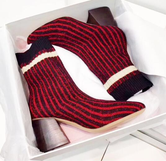 Fashion Stretch Fabric Curvy Sock Red-Black Stripe Women Ankle Boots Sexy Chunky High Heels Slip On Mixed Colors Shoes Woman