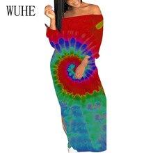 WUHE Sexy Off Shoulder Long Sleeve Vintage Ankle-length Dress Women Elegant Tie Dye Printed Maxi Dress Autumn Female Clothing long sleeve tie dye dress