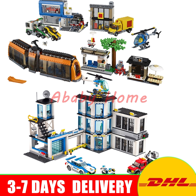 DHL Lepin City Series 02020 Police Station+ 02038 City Square Educational Building Blocks Bricks Model Toys  60141 60097 02020 lepin new city series the new police station set children educational model building blocks bricks diy toys kid gift 60141