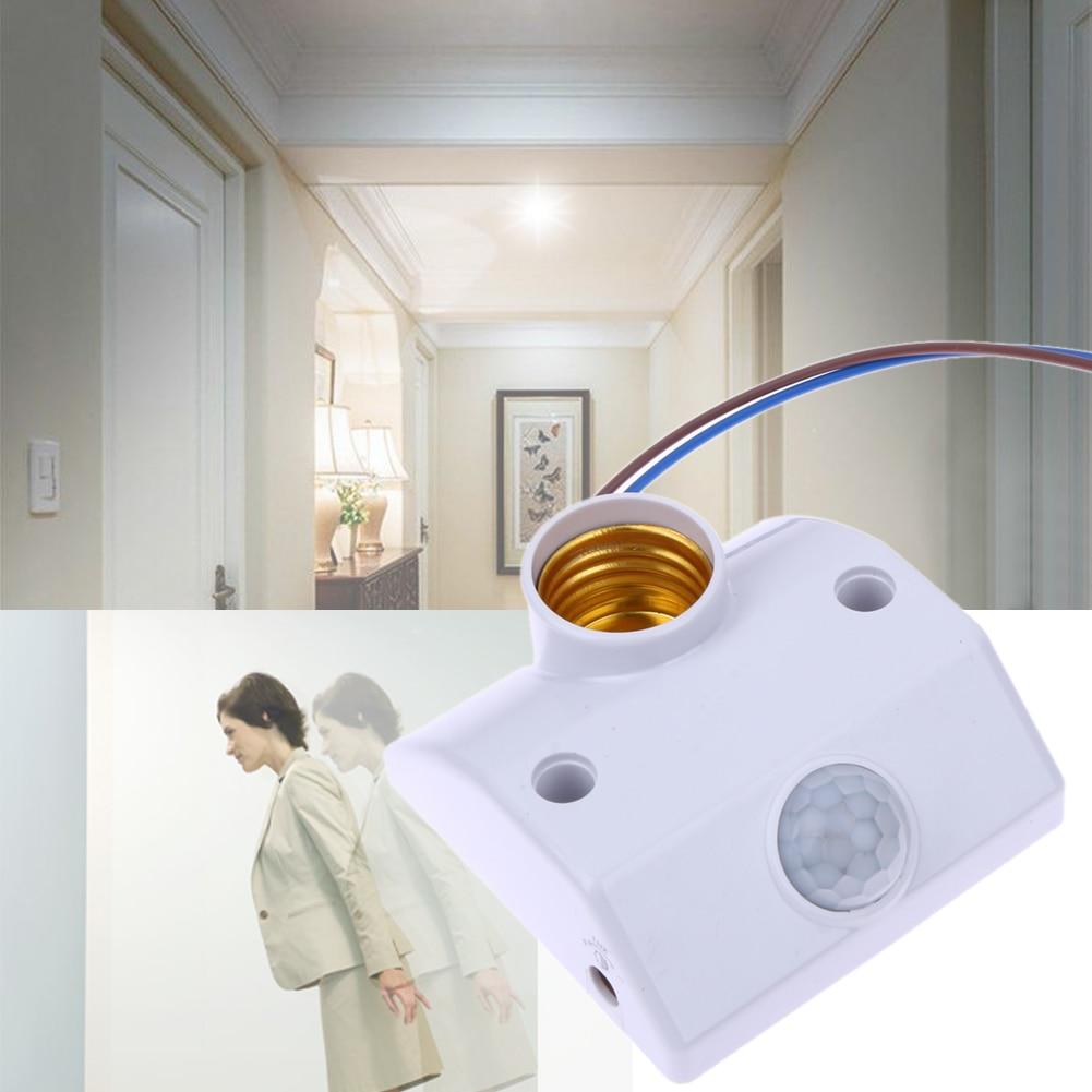VKTECH E27 AC220V 50/60HZ Infrared Motion Sensor Automatic Light Lamp Holder Switch Intelligent Light Motion Sensing Switch цены
