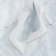Spring Newest Golden Silver Bling Pointed Toe High Heel Pumps Woman Metal Heels Sexy Shallow White Crystal Wedding Party Shoes
