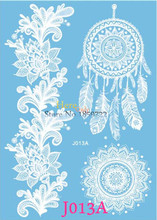 1PC Popular Large Henna White Ink Dreamcather Tattoo Indian Sunflower Arm Neck Waterprooof Dream Catcher Temporary Tattoo Pastes