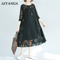 Plus Size 2 Pieces Women Lace Dress Spring Summer 2018 Three Quarter Sleeve Loose Casual Medium