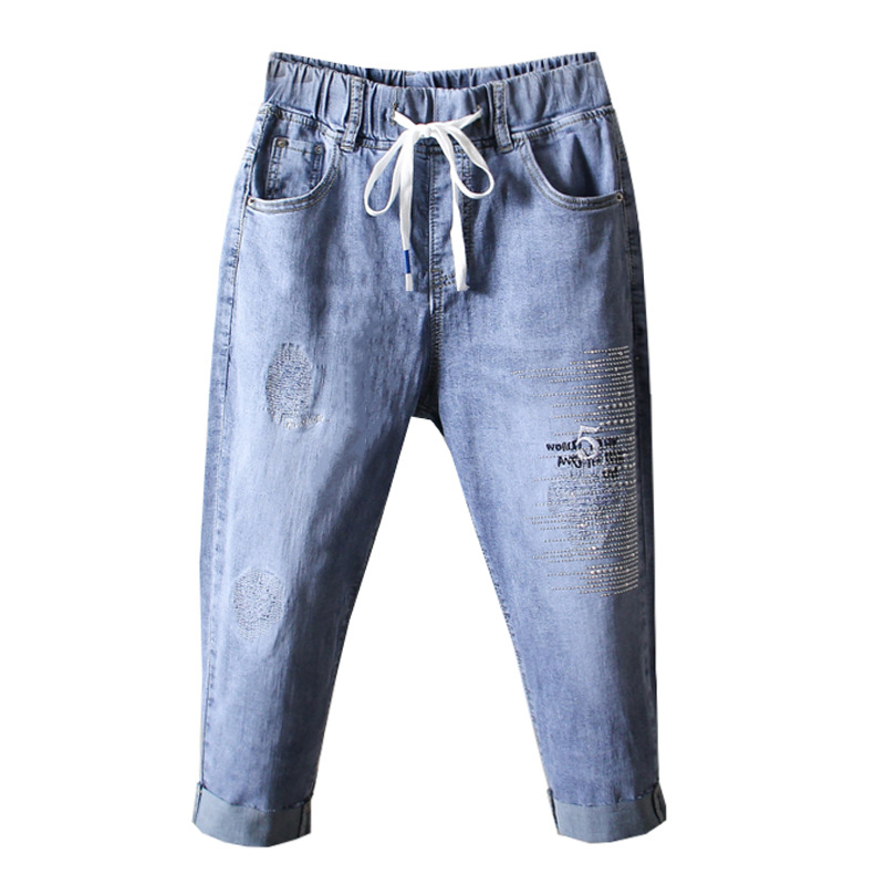Plus Size Breeches Denim for Women Summer Knee Length boyfriend Jeans Capris Elastic High Waist mom jeans Beading Embroidery