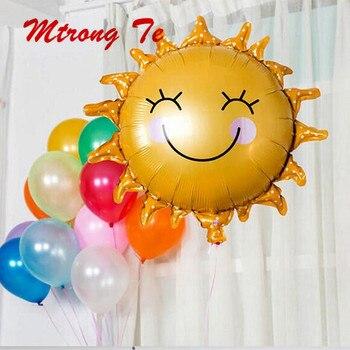 Globos de helio de aluminio con forma de girasol, Globos inflables con forma de flor para Baby Shower, decoración de fiesta de cumpleaños, Bola de aire, 10 Uds.