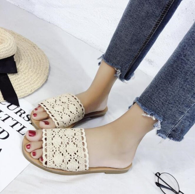 New Summer Women Slippers Hollow out Slippers Platform weaving Sandals Beach Flip Flops Shoes Woman Outside Flat Slides M284