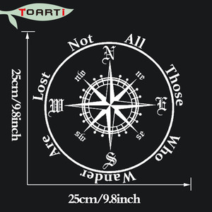 Image 3 - Not All Those Who Wander Are Lost Compass Car Sticker Reflective Removable Pvc Art Words Door Decor Decals Adhesive