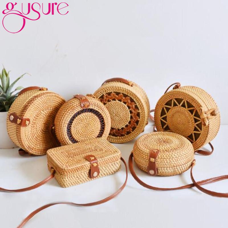 Gusure Woven Rattan Bag Round Straw Shoulder Bag Small Beach HandBags Women Summer Hollow Handmade Messenger Crossbody Bags