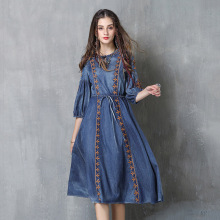 Best selling brand sweet lady clothing 2019 new round neck large embroidery denim skirt national wind drawstring dress women