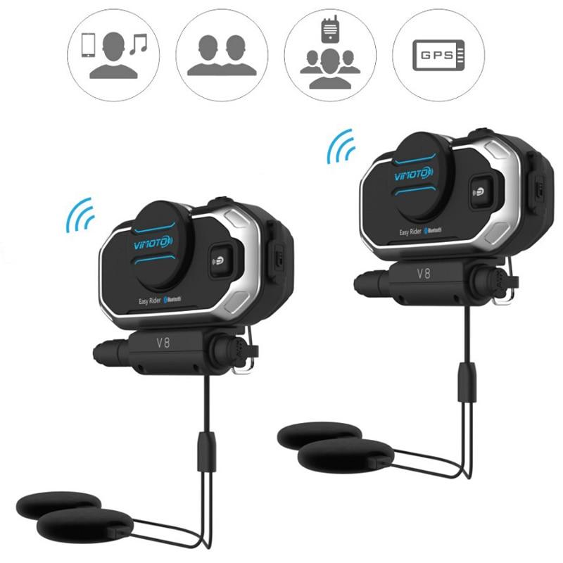 Versión en inglés Easy Rider 2 juegos Vimoto V8 casco Bluetooth auriculares estéreo motocicleta auriculares para teléfono móvil y Radio GPS