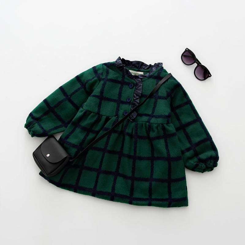 Girls Dress 2017 Spring  Autumn Casual Style Baby Girl Clothes Long Sleeve Cartoon Bunny Print Plaid Dress for Kids Clothes45 2017 flower girl dress casual daily style kids dress for girls spring baby girl clothes children brand clothing fashion hot sale