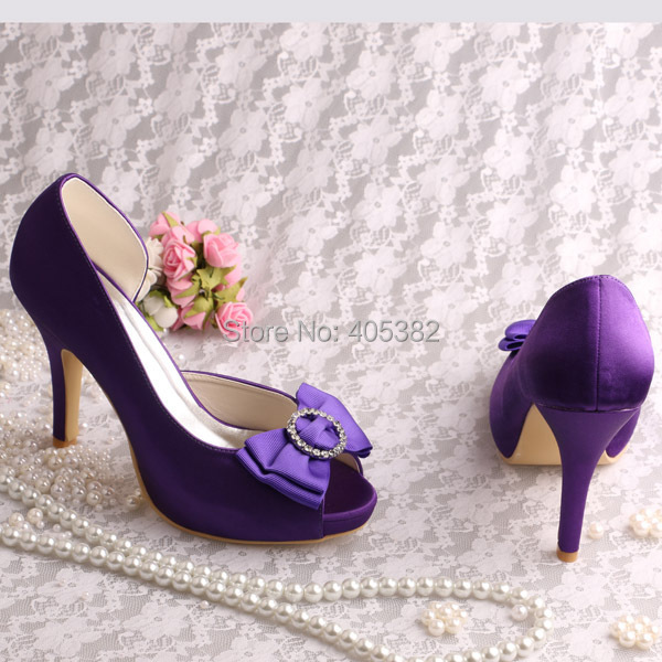 Wedopus Customized Satin Platform Bridal Shoes Purple High Heeled Peep Toes  Large Sizes with Bowtie-in Women s Pumps from Shoes on Aliexpress.com  5d950654eb7a