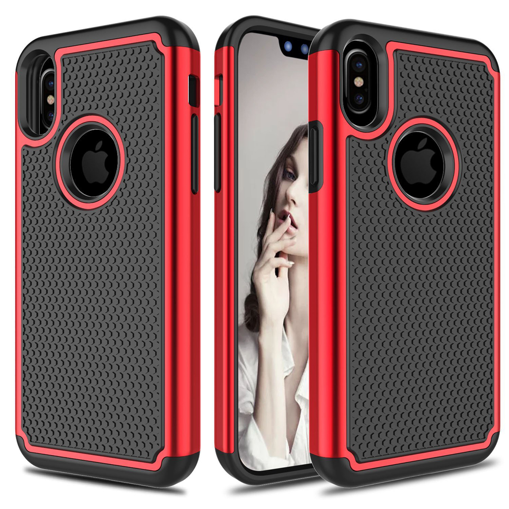 Jetjoy For iPhone X Ten 10 Hybrid Rugged Silicone Rubber Tough Armor Shockproof Heavy Duty Protective Phone Cases Covers