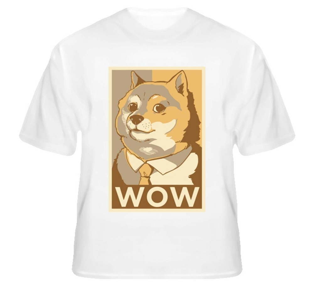 THE CUTE DOG DOGE SUCH WORKOUT MUCH BURN Character pattern Mens and womens short sleeve T-shirt