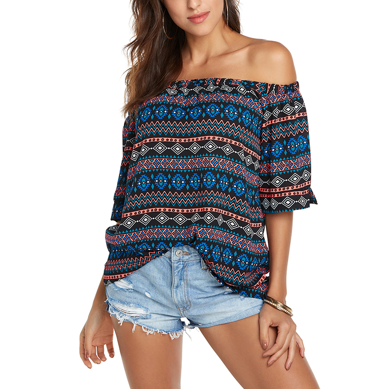2018 Off shoulder Chiffon Blouse Women Elegant Print Short Sleeve Loose Boho Tops Shirt Casual Female Beach Vacation Blusas