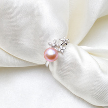 ASHIQI Genuine 925 Sterling Silver Ring Natural freshwater pearl jewelry for women