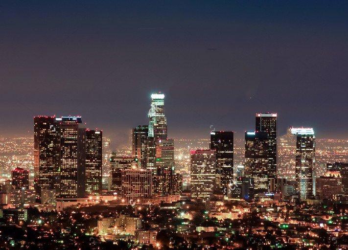 Los Angeles City Night Skyline Backdrop Vinyl Cloth High