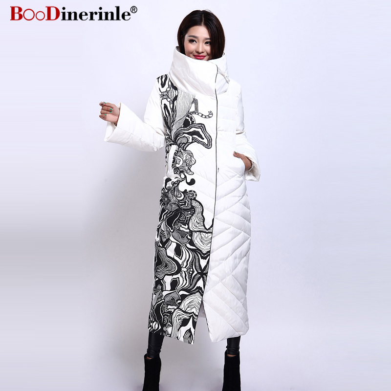 BOoDinerile Women's Jacket Female Thick Warm White Duck Down Coat Winter Elegant Office Lady's Print Slim X-Long Outwear YR159-2
