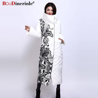 BOoDinerile Women's Jacket Female Thick Warm White Duck Down Coat Winter Elegant Office Lady's Print Slim X Long Outwear YR159 2