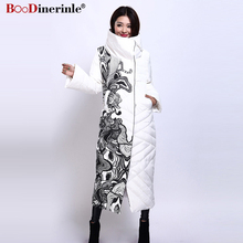 BOoDinerile Women's Jacket Female Thick Warm White Duck Down Coat Winter Elegant