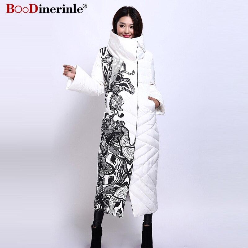 Boodinerile 여성 자켓 여성 두꺼운 따뜻한 흰색 오리 코트 겨울 우아한 사무실 레이디의 인쇄 슬림 x 긴 outwear YR159 2-에서다운 코트부터 여성 의류 의  그룹 1