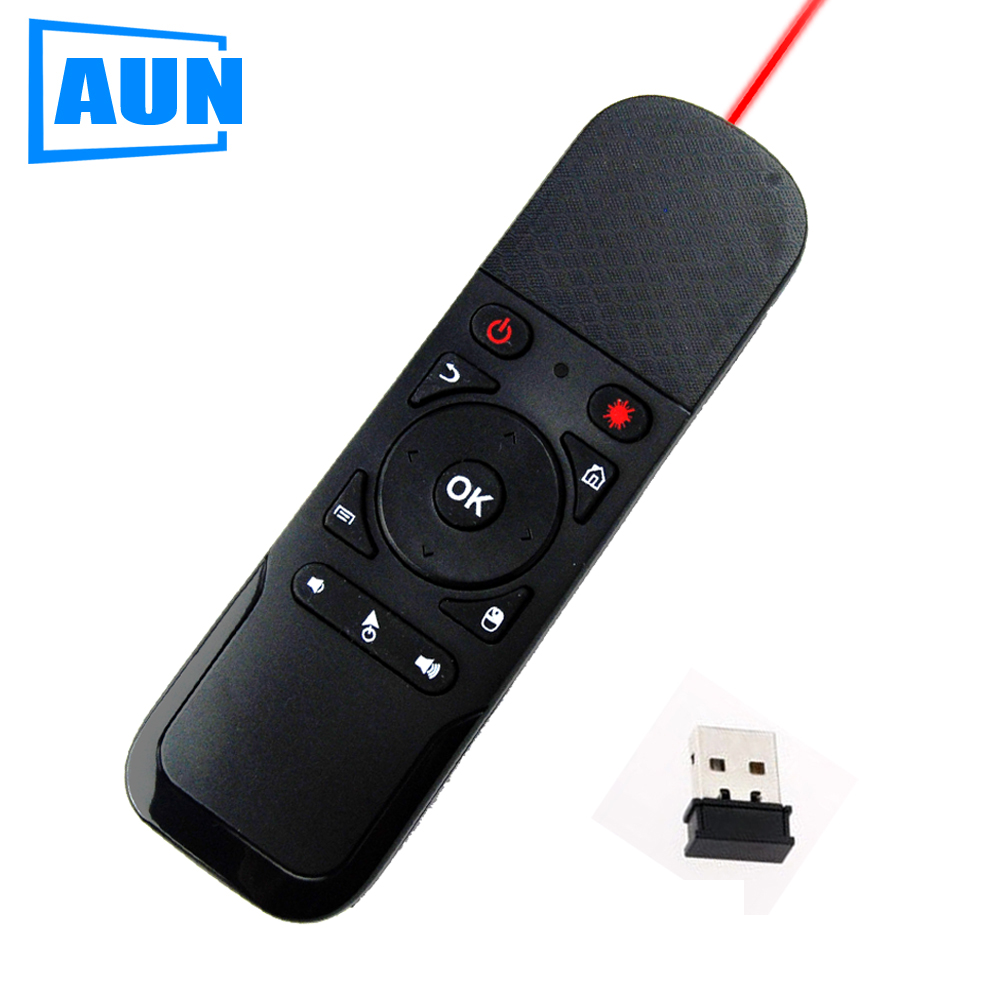 AUN 2 in 1 Fly Air Mouse + Laser Pen 2.4G Wireless Remote Control for PC, Android Tv Box, Projector Meeting