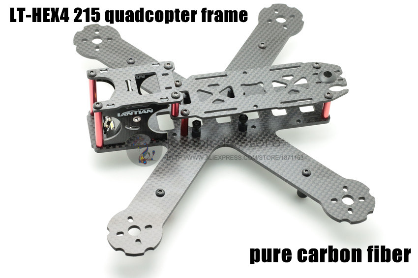 DIY mini drone pure carbon fiber racing quadcopter frame LT HEX4-215 X215 frame body and wing arms integrally molded unassembled eft diy 10l agriculture spray quadcopter drone 1300mm annular folding pure carbon fiber frame model a and model b