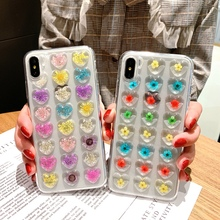 Luxury Fashion Love Heart Dried Flower Phone Case For iphone 7 8 Plus X XS XR Max 6 6s Real Floral Soft TPU Back Cover