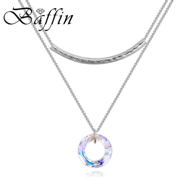 BAFFIN Original Crystals From Swarovski Circle Pendant Necklaces  Silver Rose Gold Color Multi Chains Collars For Women Chic Gift e6269ca34