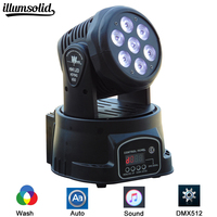High Quality LED Mini Moving Head Wash Light 7X12W RGBW Moving Heads DMX 14 Channels DJ Nightclub Party Concert Stage Lighting