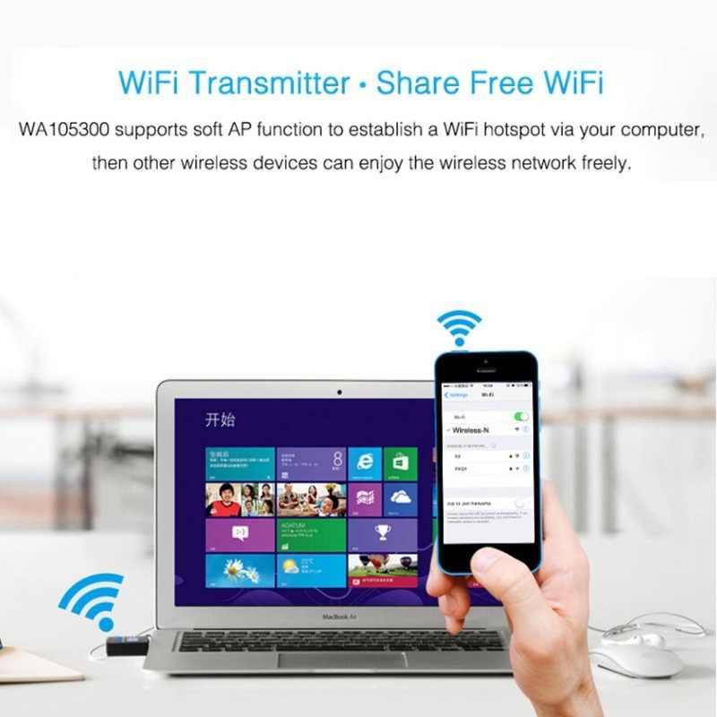 Adaptateur WiFi sans fil USB 300 Mbps antenne WiFi Lan adaptateur de carte récepteur réseau avec pilote CD pour Ethernet PC Wifi Dongle