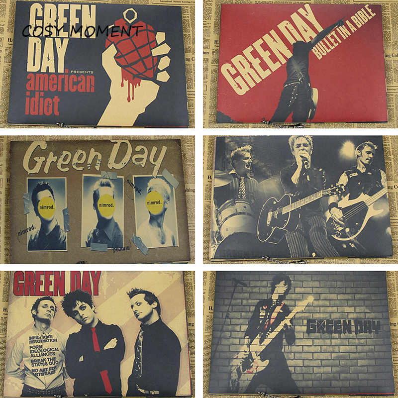 COSY MOMENT Vintage Green Day Band Poster Retro Kraft Paper Punk Rock Music Star Poster Cafe Bar Wall Decoration Poster QT231
