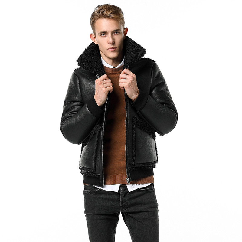 Populaire en Europe et en amérique hommes veste en cuir 2019 hiver Airman nouvelle mèche chaude Zipper hommes Faux cuir manteau M-4XL 9615 - 4