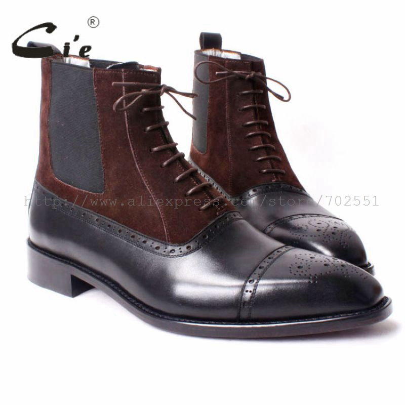 cie Free shipping custom bespoke handmade calf leather upper inner outsole Square toe semi-brogue lace-up boot brown/black A65 купить часы haas lt cie mfh211 zsa